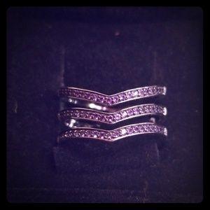 Amethyst 3 row ring, size 7.5